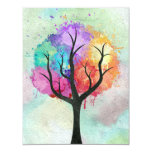 Awesome abstract pastel colours oil paint tree 11 cm x 14 cm invitation card