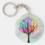 Awesome abstract pastel colours oil paint tree basic round button key ring