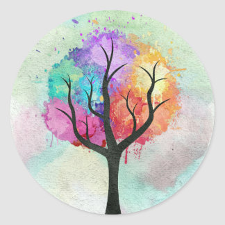 Awesome abstract pastel colours oil paint tree classic round sticker