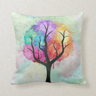 Awesome abstract pastel colours oil paint tree cushion