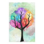 Awesome abstract pastel colours oil paint tree customised stationery