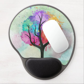 Awesome abstract pastel colours oil paint tree gel mouse mat