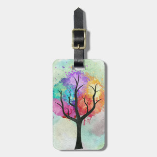 Awesome abstract pastel colours oil paint tree luggage tag
