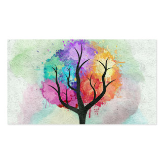 Awesome abstract pastel colours oil paint tree pack of standard business cards