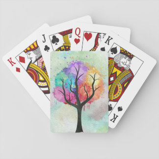 Awesome abstract pastel colours oil paint tree playing cards