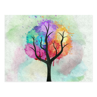 Awesome abstract pastel colours oil paint tree postcard