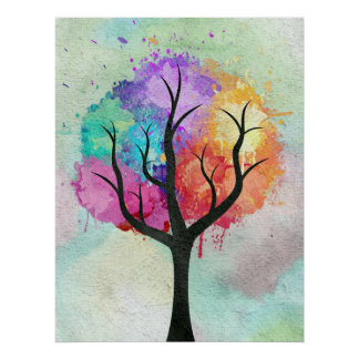 Awesome abstract pastel colours oil paint tree poster