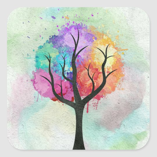 Awesome abstract pastel colours oil paint tree square