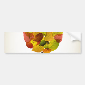 Awesome abstract tree  leaf colors bumper sticker