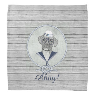 Awesome  adorable funny sailor ahoy boxer dog bandana