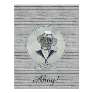 Awesome  adorable funny sailor ahoy boxer dog poster