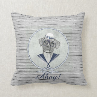 Awesome  adorable funny sailor ahoy boxer dog throw pillow