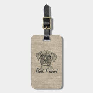 Awesome  adorable funny trendy boxer puppy dog luggage tag