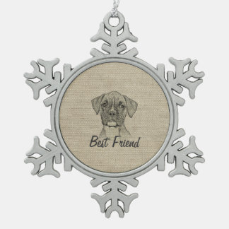 Awesome  adorable funny trendy boxer puppy dog snowflake pewter christmas ornament