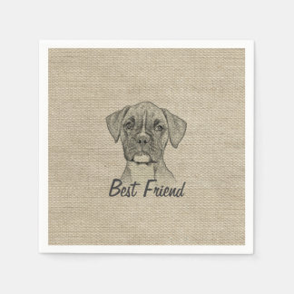 Awesome  adorable funny trendy boxer puppy dogv disposable serviette