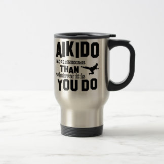 awesome  aikido design stainless steel travel mug