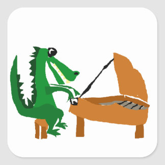 Awesome Alligator Playing Piano Square Sticker