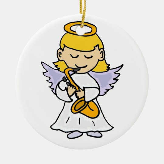 Awesome Angel Playing the Saxophone Art Christmas Ornament