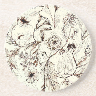 Awesome Antique Victorian Floral Design Drink Coaster