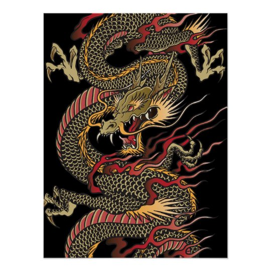 Awesome asian dragon poster