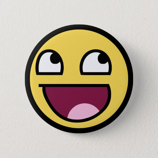 awesome /b/ smiley face 6 cm round badge