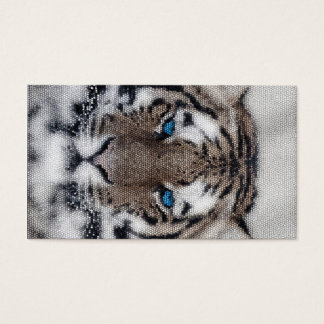Awesome beautiful tiger blue eyes stained glass business card