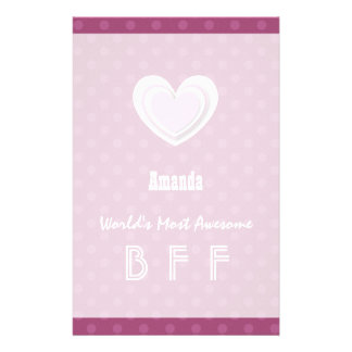 Awesome BFF Pink Layered Star Polka Dots Z602A Custom Stationery
