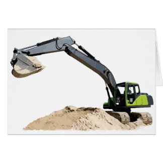Awesome Big Green Construction Excavator #4 Greeting Card