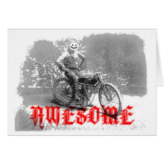 Awesome biker smile face greeting card