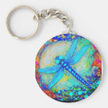 Awesome Blue Dragonfly by Sharles Basic Round Button Key Ring