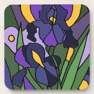 Awesome Blue Iris Floral Abstract Art Drink Coaster