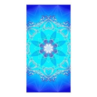 Awesome blue kaleidoskop customized photo card