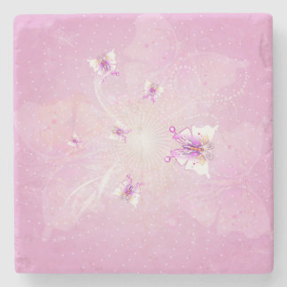 Awesome butterflys on soft purple background stone beverage coaster