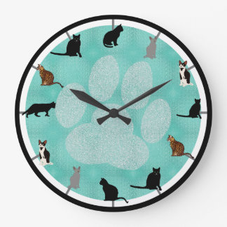 Awesome Cats Large Clock
