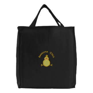 Awesome Chick Embroidered Tote Bags