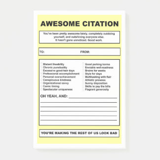 'Awesome Citation' Post-it Notes