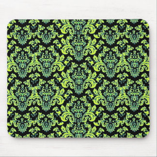 Awesome Colorful Damask Design on Black Mouse Pad