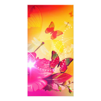 Awesome colorful flowers and butterflys customized photo card