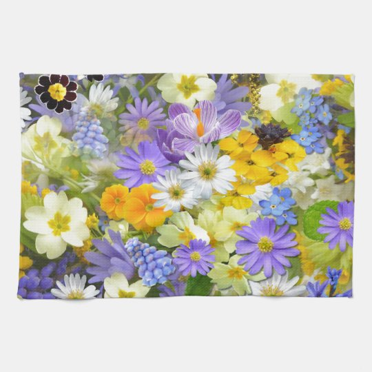 Awesome Colourful Garden Flowers Design Tea Towel