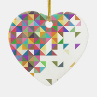 Awesome colourful retro geometric pattern ceramic heart decoration