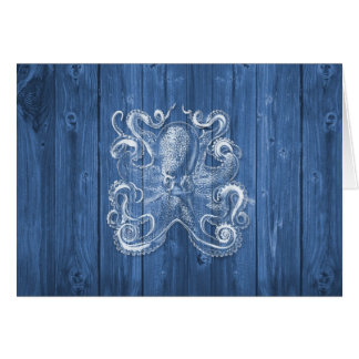 awesome cool Antique effect white octopus Greeting Card