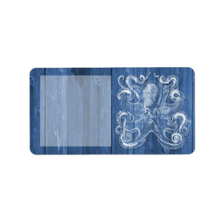 awesome cool Antique effect white octopus Label