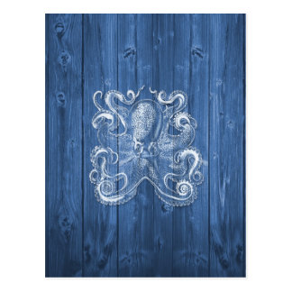 awesome cool Antique effect white octopus Postcard