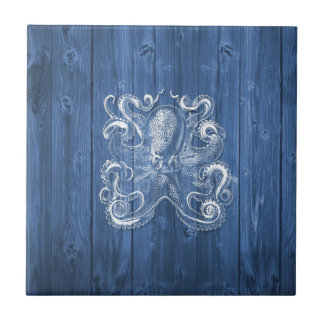awesome cool Antique effect white octopus Small Square Tile
