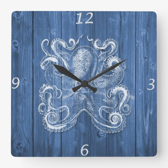 awesome cool Antique effect white octopus Square Wall