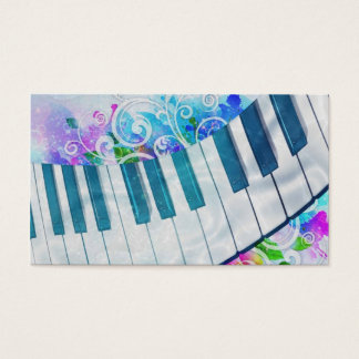 Awesome cool blue circular  piano light effect business card