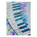 Awesome cool blue circular  piano light effect poster