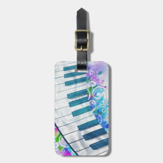 Awesome cool blue circular  piano light effects luggage tag