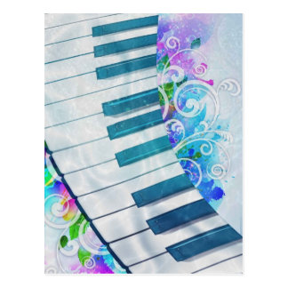 Awesome cool blue circular  piano light effects postcard
