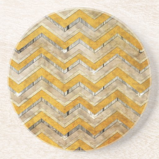 Awesome cool chevron zigzag pattern wood marble beverage coasters